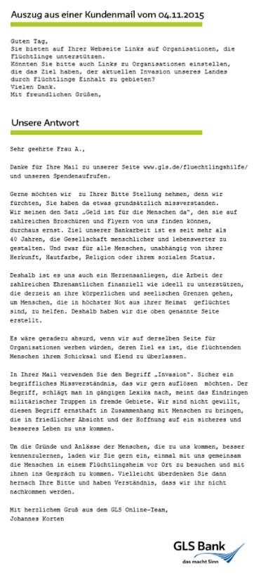 Antwort der GLS-Bank auf Flüchtlings-Anwurf